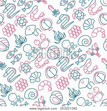 Seafood Seamless Pattern With Thin Line Icons: Lobster; Fish; Shrimp; Octopus; Oyster; Eel; Seaweed;