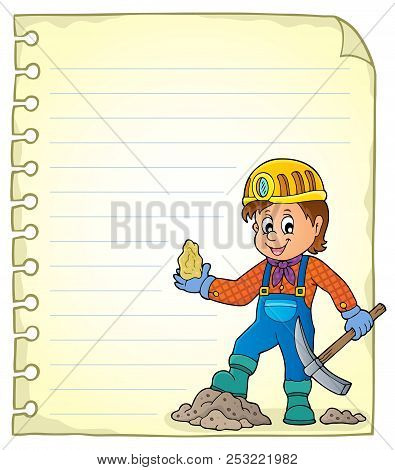 Notepad Page With Miner Theme 1 - Eps10 Vector Picture Illustration.