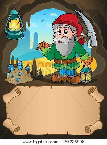 Small Parchment And Dwarf Miner 1 - Eps10 Vector Picture Illustration.
