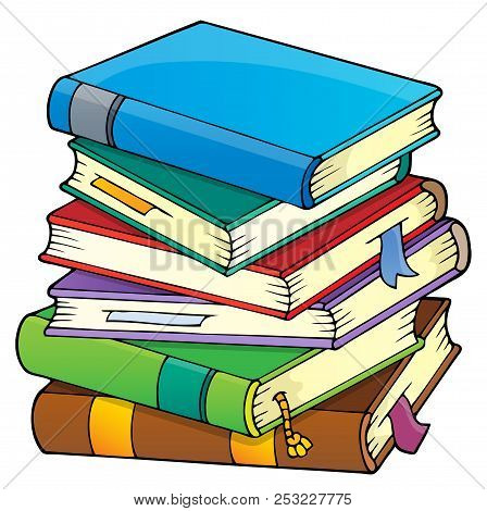 Stack Of Books Theme Image 1 - Eps10 Vector Picture Illustration.