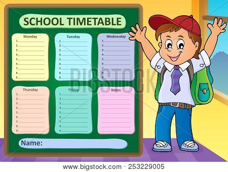 Weekly School Timetable Design 6 - Eps10 Vector Picture Illustration.