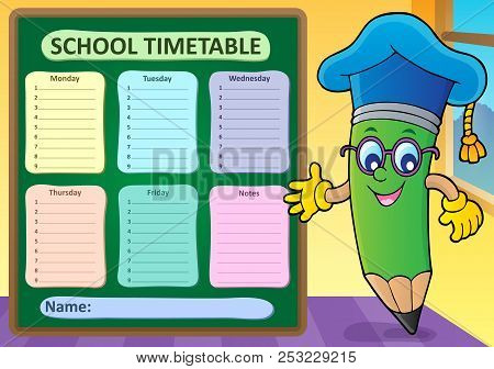 Weekly School Timetable Template 2 - Eps10 Vector Picture Illustration.