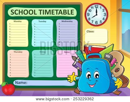 Weekly School Timetable Template 5 - Eps10 Vector Picture Illustration.