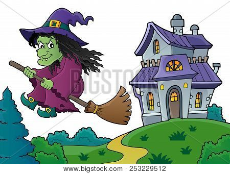 Witch On Broom Theme Image 8 - Eps10 Vector Picture Illustration.