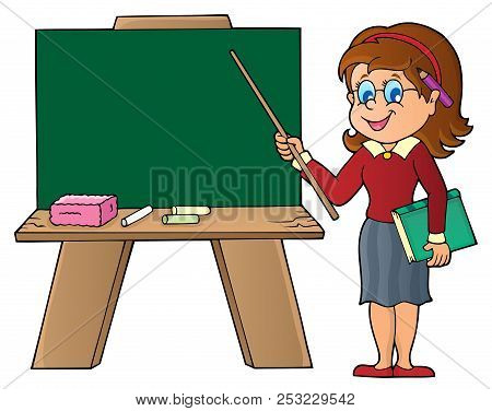 Woman Teacher Standing By Schoolboard - Eps10 Vector Picture Illustration.