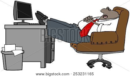 Illustration Of A Sleeping Black Businessman With His Feet On The Desk.