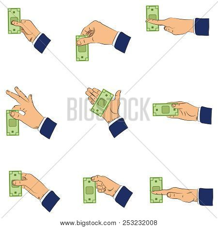 Cash In Hand. Hand Holding The Cash By Two Fingers, Horizontally. Vector Isolated Illustration, Hand