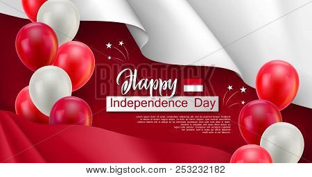 Happy Indonesian Independence Day Festive Poster. Political Holiday Celebrated 17th Of August. Patri