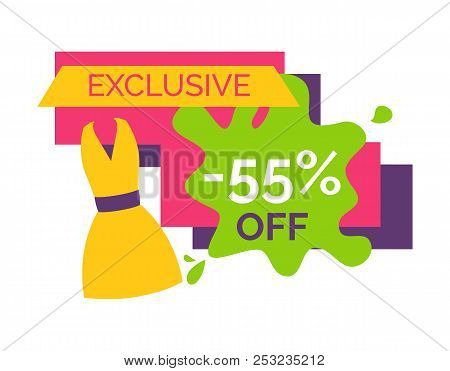 55 Off Exclusive Discount Logotype With Bright Summer Dress. Special Offer For Female Clothes. Half