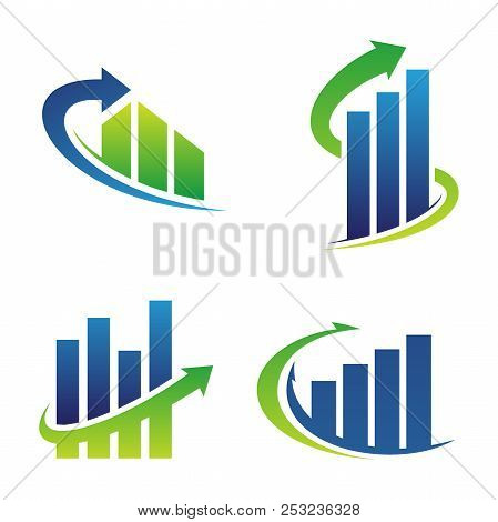 Set Grow Up Vector Symbol For Business Finance Or Real Estate With Arrow. Business Finance Design Co