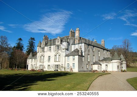 May 1st 2018 - Moray, Scotland: The Historic Brodie Castle On A Clear Spring Day With Blue Sky.