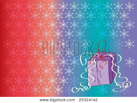 Coloured Background With Falling Snowflakes And Gift