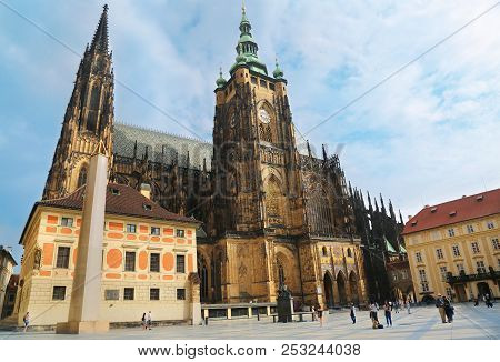 Prague, Czech Republic - Jun 9, 2018. View Of St. Vitus Cathedral In Prague Castle Complex In Prague