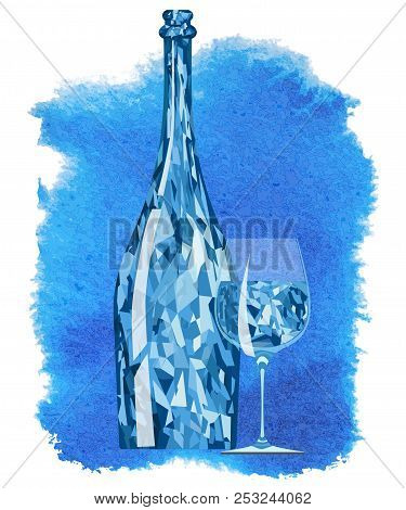 Abstract Crystal Bottle With A Glass On A Blue Background-vector Illustration