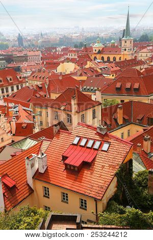 Beautiful Cityscape With Famous Red Roof Tops Of Mala Strana District In Prague, Czech Republic