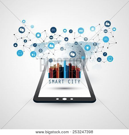 Smart City, Internet Of Things Design Concept With Tablet Pc Icons - Digital Network Connections, Te