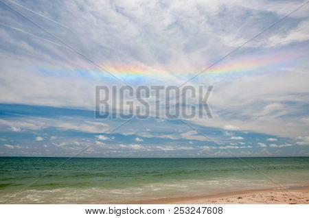 Iridescent Cloud Over The Atlantic Ocean At Playalinda Beach.