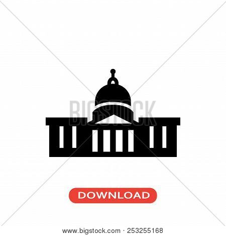 Capitol Building Vector Icon Flat Style Illustration For Web, Mobile, Logo, Application And Graphic