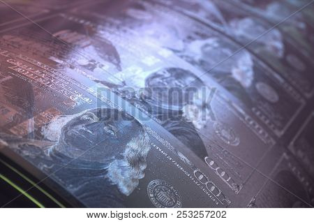 3d Illustration. Concept Image Of A One Hundred Dollar Bill Print Roller. Printing Us Dollar Bills.