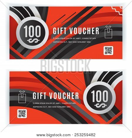 Vector Gift Voucher Template. Universal Flyer Black Red Design Elements. Gift Voucher Value 100 Doll