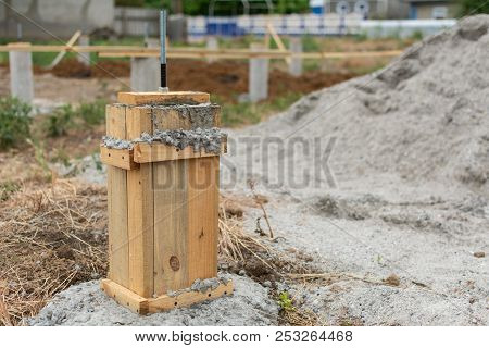 Construction Of Pile Foundation. A Series Of Photo Building Houses.