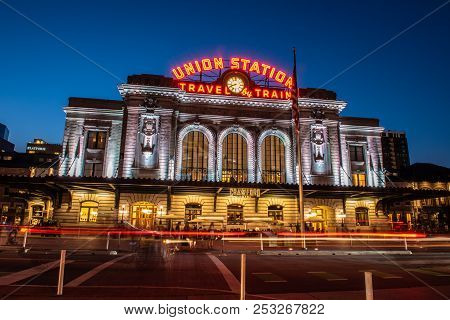Vintage Union Station Transportation Center At Dusk With Streaking Lights And Bright Lamps On August