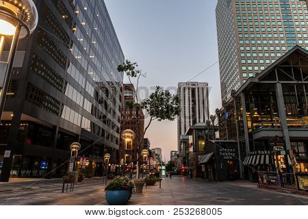 Slate-covered Sidewalks Along The 16th Street Shopping Mall Of Downtown Denver, Colorado On August 9