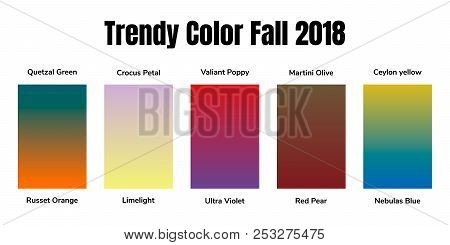 Infographics, Trendy Fashion Colors Of The 2018 Fall, Winter, Gradient. Martini Olive, Quetzal Green