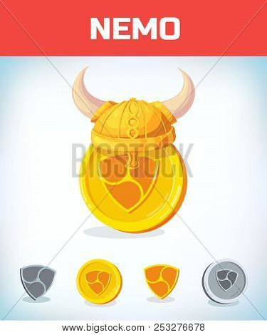 Nemo In Viking Helmet. Nemo. Digital Currency. Crypto Currency. Money And Finance Symbol. Miner Bit