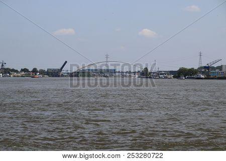 Bridge Over The River Noord At Alblasserdam Is Opening In The Netherlands