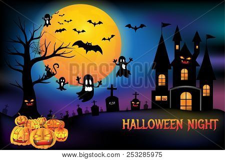 Halloween Pumpkins And Creepy Castle, Death Tree With Cemetery Graveyard And Bats With Full Moon Bac