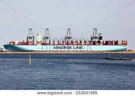 Aarhus, Denmark - August 9, 2018: Maersk Ship In The Harbor Of Aarhus, Denmark. Maersk Company Based