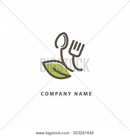 Abstract Food Logo Icon Vector Design. Recipe, Diet, Cooking, Cafe, Restaurant, Vegan, Gmo, Gluten F