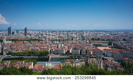 Lyon Cityscape Panorama From Part-dieu Financial District To Bellecour Square In France