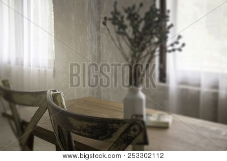 Vintage Style Interior With Wooden Furniture, Stock Photo