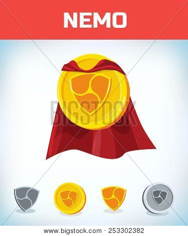 Funny Super Hero Businessman Flying Nemo. Miner Bit Coin Digital Currency Cryptocurrency. Orange Coi