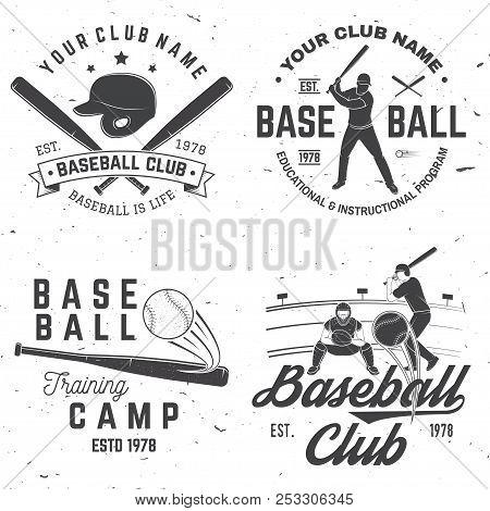 Set Of Baseball Or Softball Club Badge. Vector. Concept For Shirt Or Logo, Print, Stamp Or Tee. Vint