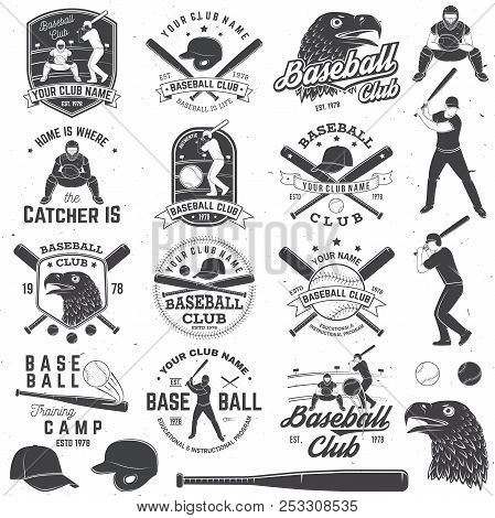 Set Of Baseball Or Softball Club Badge With Design Element. Vector. Concept For Shirt Or Logo, Print