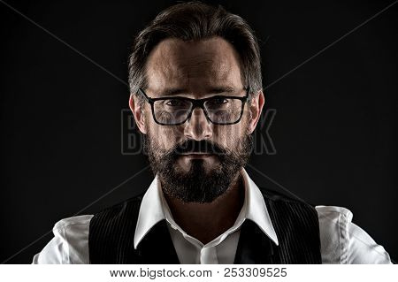 Ask Him If You Need Wise Advice. Business Man Face Confident With Wrinkles Beard Mustache Close Up.