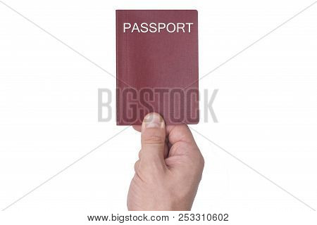 Red Passport In The Man's Hand. Isolate