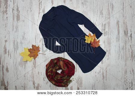 Blue Long Shirt, Scarf And Maple Leaves. Fashionable Concept.