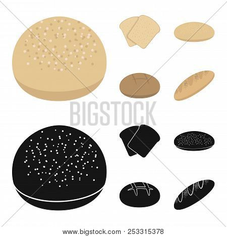 Toast, Pizza Stock, Ruffed Loaf, Round Rye.bread Set Collection Icons In Cartoon, Black Style Vector