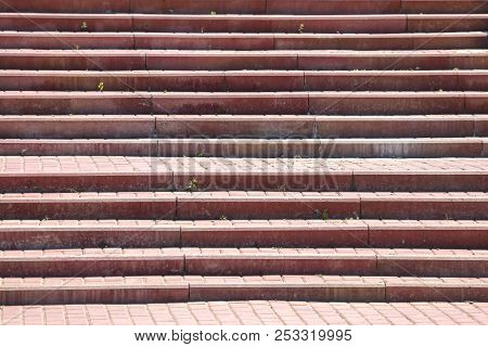 Steps In The Sidewalk Tile As A Background