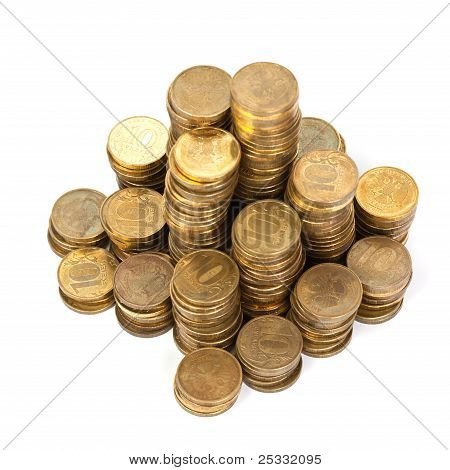 Stack Of Golden Coins From Top
