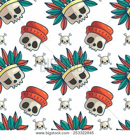 Skull Seamless Pattern Halloween Wallpaper Doodle Colorful Cartoon Background Day Of The Dead