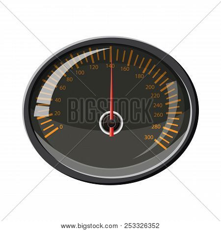 Speedometer 140 Km In Hour Icon In Cartoon Style Isolated On White Background. Speed Measurement Sym