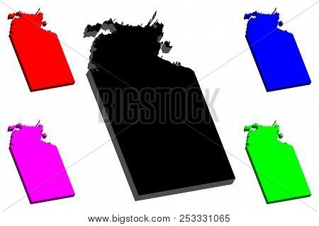3d Map Of Northern Territory (australian States And Territories, Nt) - Black, Red, Purple, Blue And