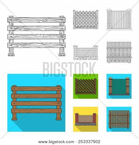 A Fence Of Metal And Bricks, Wooden Palisade. A Different Fence Set Collection Icons In Outline, Fla
