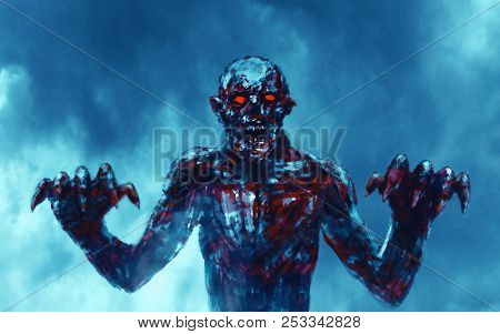 Dark Bloody Zombie Stretches Out Clawed Hands. Scary Character Attack. The Horror Genre. Blue Color
