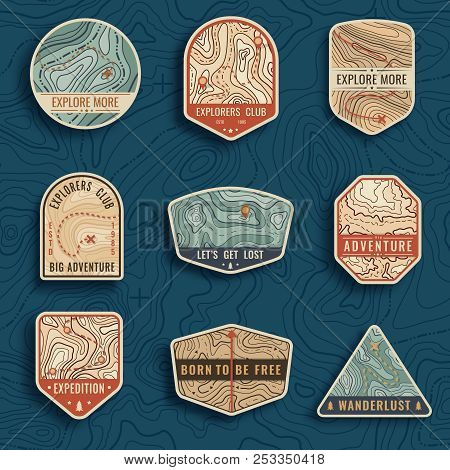 Set Of Nine Topographic Map Travel Emblems. Outdoor Adventure Emblems, Badges And Logo Patches. Fore